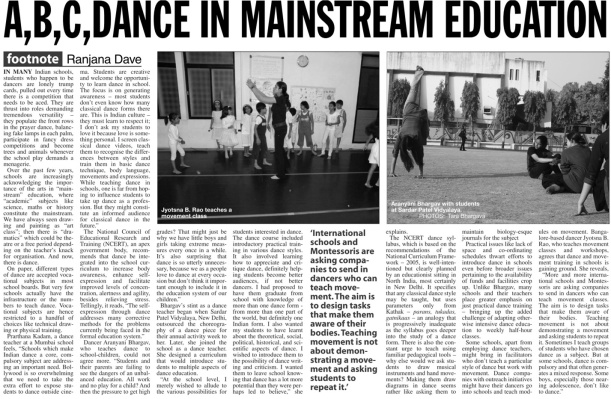 A,B,C,DANCE IN MAINSTREAM EDUCATION
